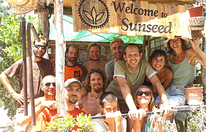 Spring Summer 2014's Sunseed Desert Technology team: from left to right (top row, then below) Eugenio, Diego, Merlin, Me, Sebastian, Emma Jyoti / Mirco, Krister, Emil, Lucia, Emma. The Sunseed project aims to demonstrate and communicate low environmental impact through volunteering, community living. environmental education and personal responsibility towards nature and society.